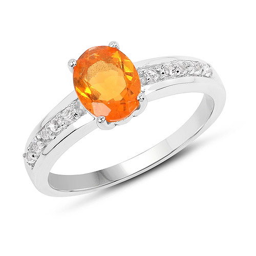 Opal-0.80 Carat Genuine Fire Opal and White Topaz .925 Sterling Silver Ring