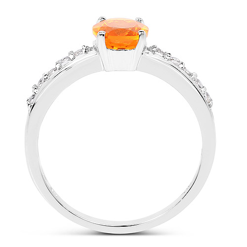 0.80 Carat Genuine Fire Opal and White Topaz .925 Sterling Silver Ring