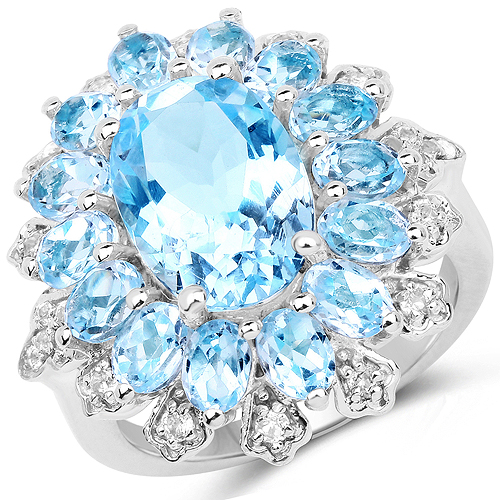 Rings-7.57 Carat Genuine Blue Topaz and White Topaz .925 Sterling Silver Ring