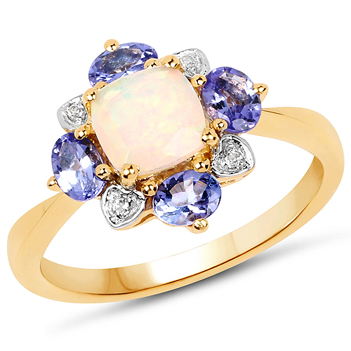 Opal-14K Yellow Gold Plated 1.20 Carat Genuine Ethiopian Opal, Tanzanite and White Topaz .925 Sterling Silver Ring
