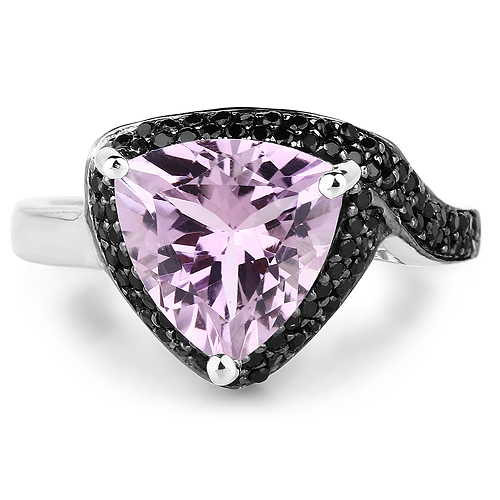 3.53 Carat Genuine Pink Amethyst and Black Spinel .925 Sterling Silver Ring
