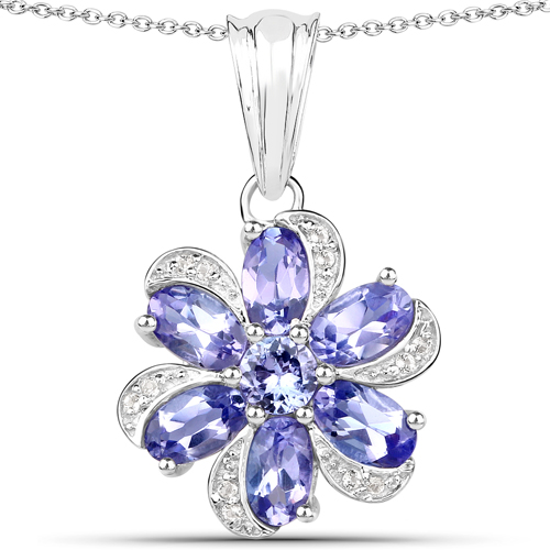 6.05 Carat Genuine Tanzanite and White Topaz .925 Sterling Silver 3 Piece Jewelry Set (Ring, Earrings, and Pendant w/ Chain)