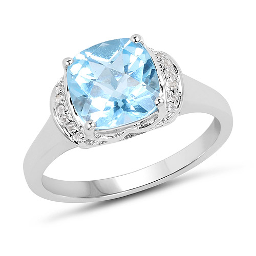 Rings-2.79 Carat Genuine Blue Topaz and White Topaz .925 Sterling Silver Ring