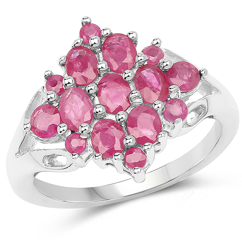 Ruby-1.87 Carat Genuine Ruby and White Diamond .925 Sterling Silver Ring