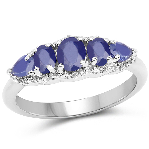 Sapphire-1.43 Carat Glass Filled Sapphire and White Topaz .925 Sterling Silver Ring