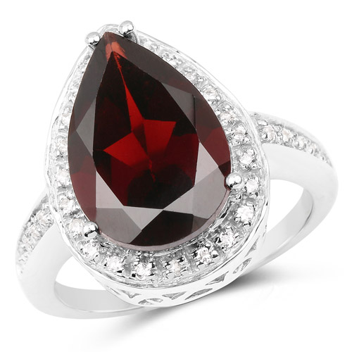 Garnet-5.77 Carat Genuine Garnet and White Topaz .925 Sterling Silver Ring