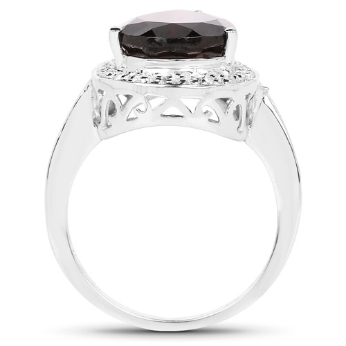 5.77 Carat Genuine Garnet and White Topaz .925 Sterling Silver Ring