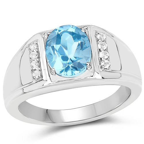 Rings-2.18 Carat Genuine London Blue Topaz and White Topaz .925 Sterling Silver Ring