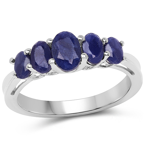 Sapphire-1.69 Carat Glass Filled Sapphire .925 Sterling Silver Ring