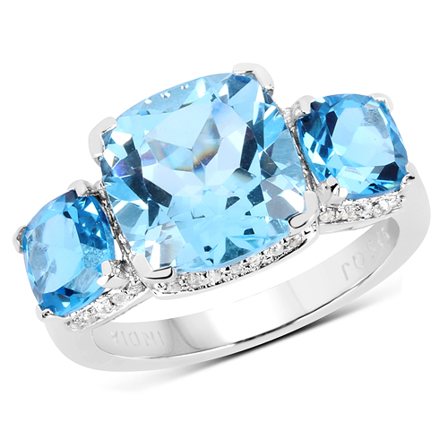 Rings-6.80 Carat Genuine Blue Topaz .925 Sterling Silver Ring