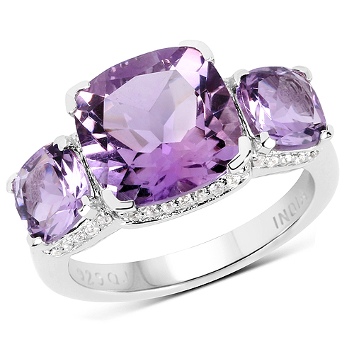 Amethyst-5.85 Carat Genuine Pink Amethyst and White Topaz .925 Streling Silver Ring
