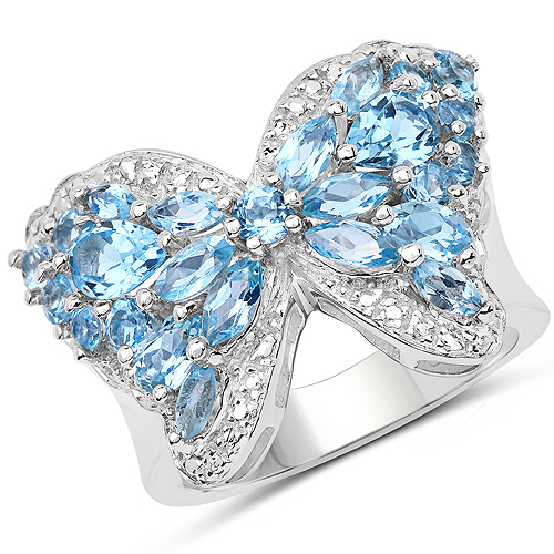 Rings-3.81 Carat Genuine Swiss Blue Topaz .925 Sterling Silver Ring