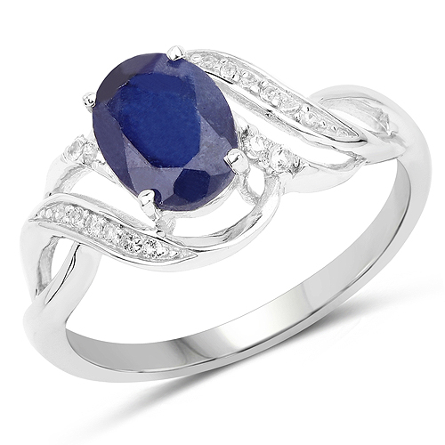 Sapphire-1.72 Carat Genuine Glass Filled Sapphire and White Topaz .925 Sterling Silver Ring
