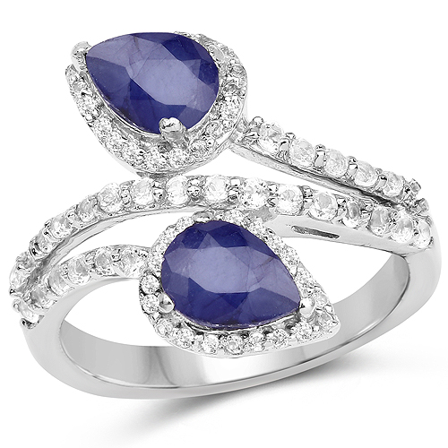 Sapphire-2.74 Carat Glass Filled Sapphire and White Topaz .925 Sterling Silver Ring