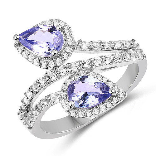 Tanzanite-2.06 Carat Genuine Tanzanite and White Topaz .925 Sterling Silver Ring