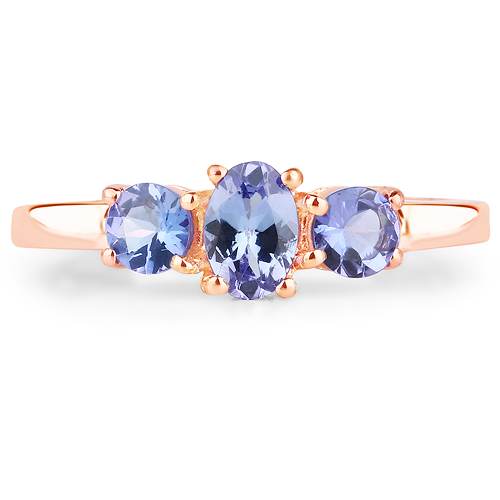 18K Rose Gold Plated 0.90 Carat Genuine Tanzanite .925 Sterling Silver Ring