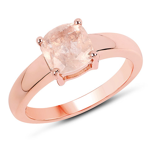 Rings-14K Rose Gold Plated 1.40 Carat Genuine Morganite .925 Sterling Silver Ring