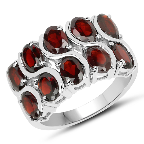 Garnet-5.10 Carat Genuine Garnet .925 Sterling Silver Ring
