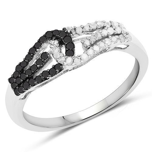 Diamond-0.33 Carat Genuine White Diamond and Black Diamond .925 Sterling Silver Ring
