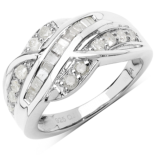 Diamond-0.66 Carat Genuine White Diamond .925 Sterling Silver Ring