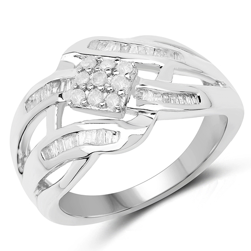 Diamond-0.62 Carat Genuine White Diamond .925 Sterling Silver Ring