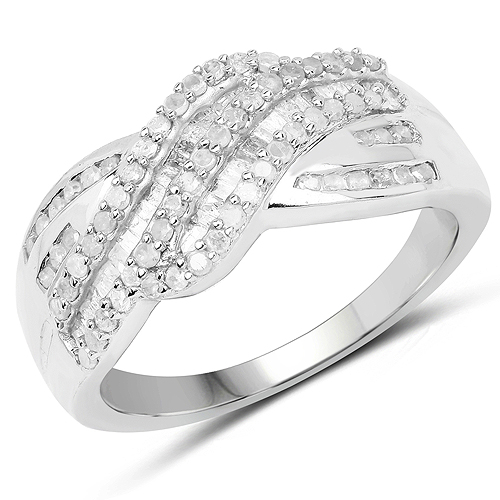 Diamond-0.64 Carat Genuine White Diamond .925 Sterling Silver Ring