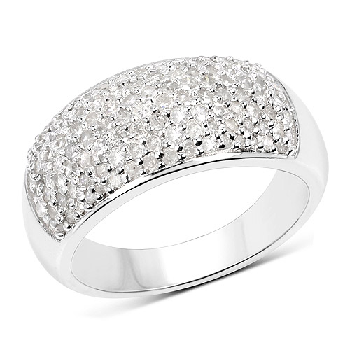 Diamond-0.96 Carat Genuine White Diamond .925 Sterling Silver Ring