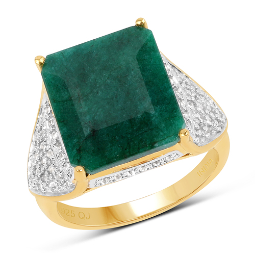 Emerald-14K Yellow Gold Plated 8.73 Carat Dyed Emerald & White Topaz .925 Sterling Silver Ring
