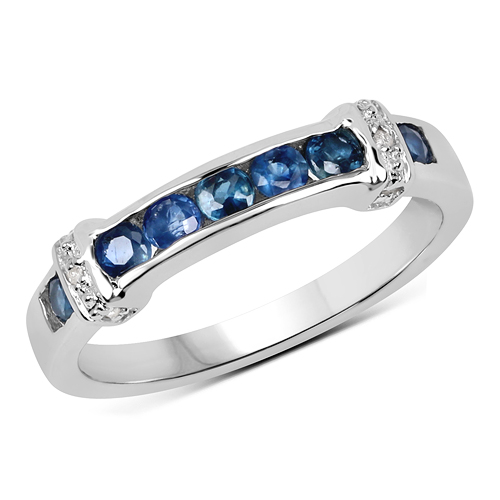 Sapphire-0.59 Carat Genuine Blue Sapphire & White Topaz .925 Sterling Silver Ring