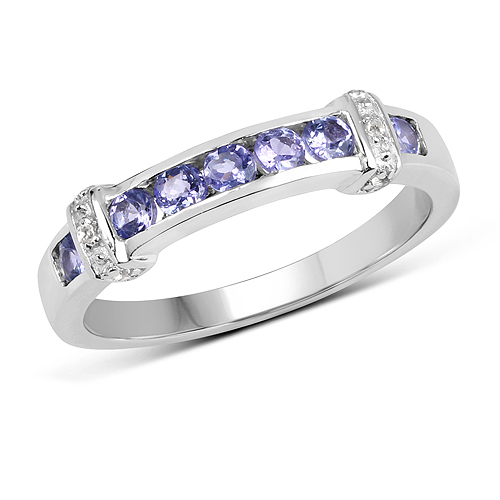 Tanzanite-0.52 Carat Genuine Tanzanite and White Topaz .925 Sterling Silver Ring
