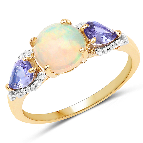 Opal-14K Yellow Gold Plated 2.21 Carat Genuine Ethiopian Opal, Tanzanite & White Topaz .925 Sterling Silver Ring