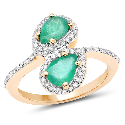 Emerald-2.06 Carat Genuine Zambian Emerald & White Zircon 14K Yellow Gold Ring