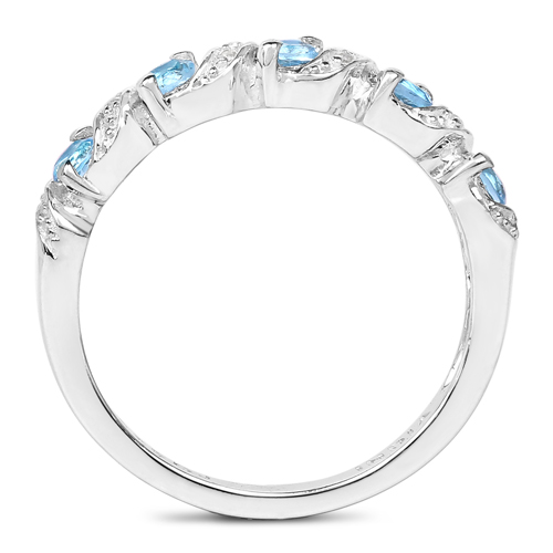 0.64 Carat Genuine Swiss Blue Topaz and White Topaz .925 Sterling Silver Ring