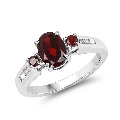 1.97 Carat Genuine Garnet and White Topaz .925 Sterling Silver Ring