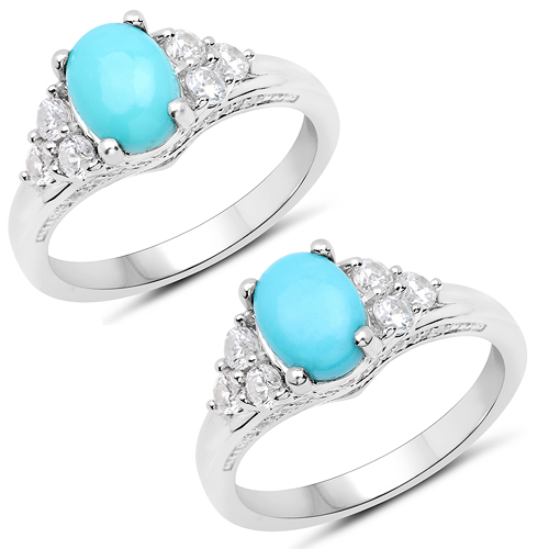 Rings-1.92 Carat Genuine Turquoise and White Zircon .925 Sterling Silver Ring