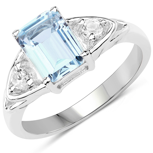Rings-1.76 Carat Genuine Blue Topaz & White Topaz .925 Sterling Silver Ring