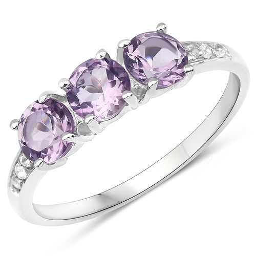 Amethyst-1.44 Carat Genuine Pink Amethyst and White Topaz .925 Sterling Silver Ring