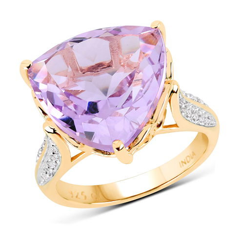 Amethyst-14K Yellow Gold Plated 10.44 Carat Genuine Pink Amethyst and White Topaz .925 Sterling Silver Ring