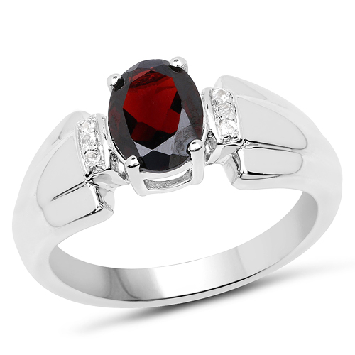 Garnet-1.65 Carat Genuine Garnet & White Topaz .925 Sterling Silver Ring