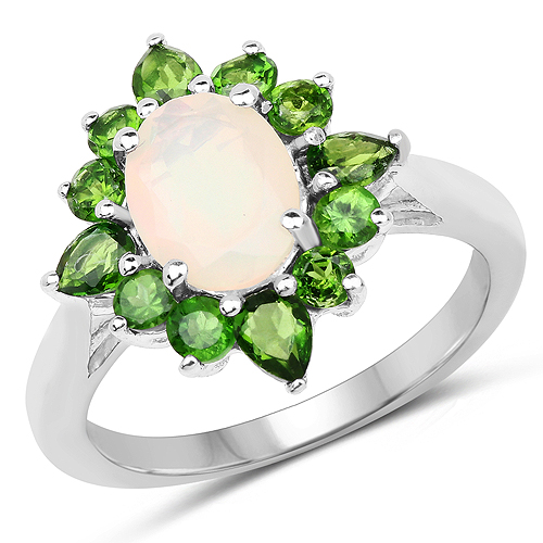 Opal-2.16 Carat Genuine Ethiopian Opal and Chrome Diopside .925 Sterling Silver Ring