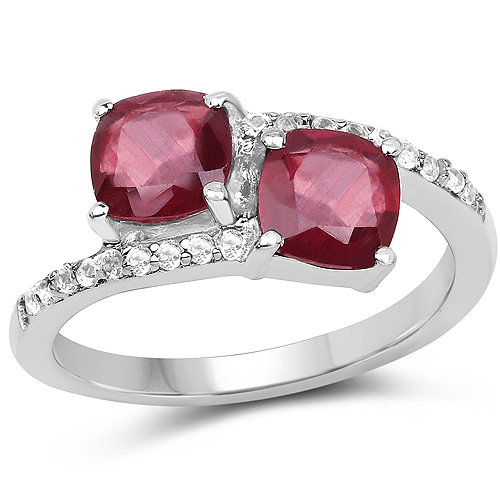 Ruby-2.38 Carat Glass Filled Ruby and White Topaz .925 Sterling Silver Ring