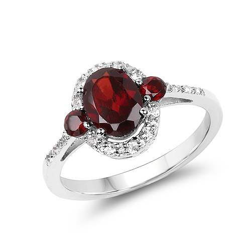 Garnet-2.02 Carat Genuine Garnet and White Topaz .925 Sterling Silver Ring