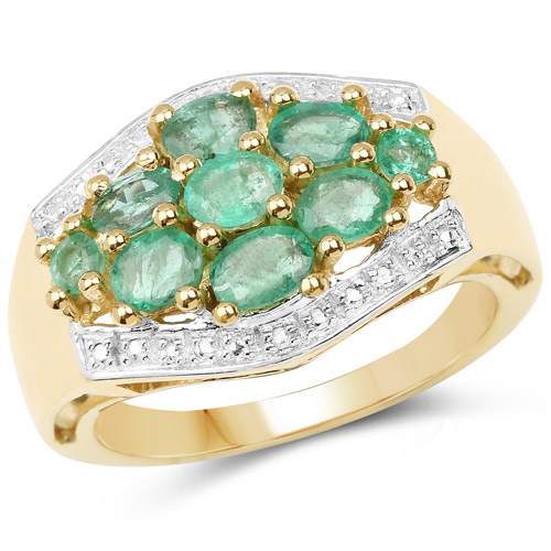 Emerald-18K Yellow Gold Plated 1.19 Carat Genuine Zambian Emerald .925 Sterling Silver Ring