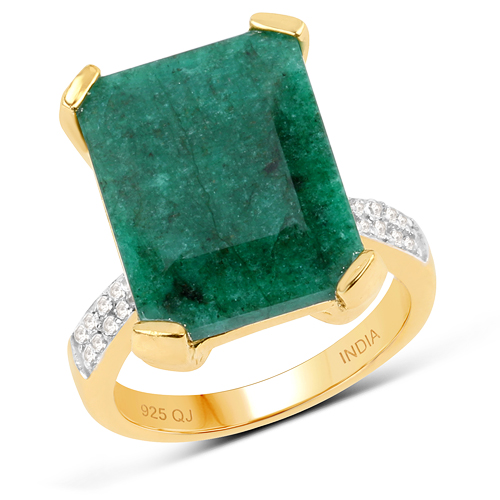 Emerald-14K Yellow Gold Plated 9.76 Carat Dyed Emerald & White Topaz .925 Sterling Silver Ring