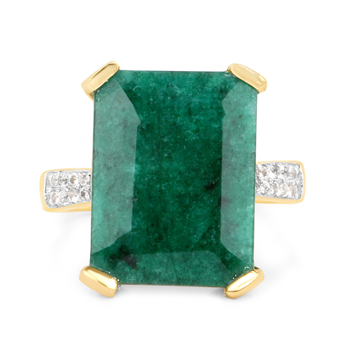 14K Yellow Gold Plated 9.76 Carat Dyed Emerald & White Topaz .925 Sterling Silver Ring