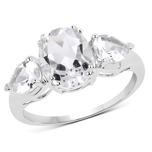 Rings-3.90 Carat Genuine Crystal Quartz .925 Sterling Silver Ring