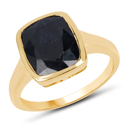 Sapphire-14K Yellow Gold Plated 6.06 Carat Dyed Sapphire .925 Sterling Silver Ring