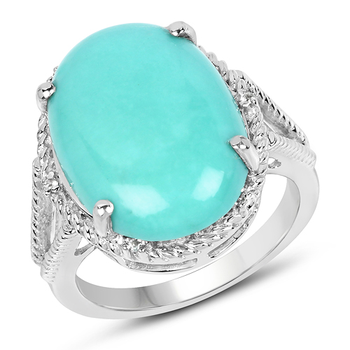 Rings-9.53 Carat Genuine Turquoise & White Topaz .925 Sterling Silver Ring
