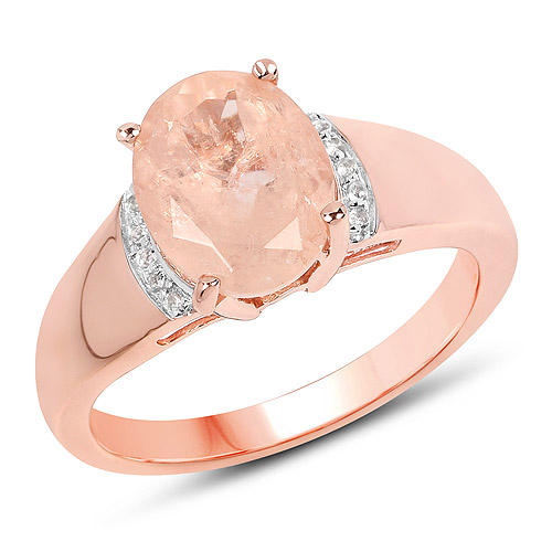 Rings-14K Rose Gold Plated 2.60 Carat Genuine Morganite and White Topaz .925 Sterling Silver Ring