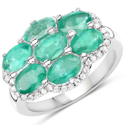 Emerald-3.33 Carat Genuine Zambian Emerald and White Zircon .925 Sterling Silver Ring